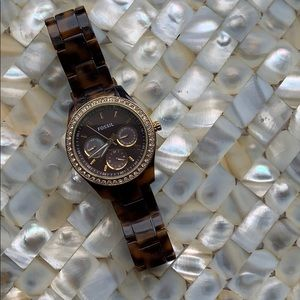Tortoise and gold fossil watch